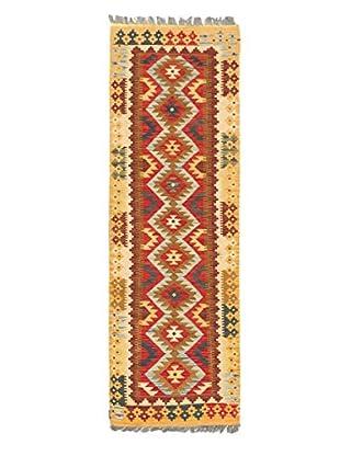 Hand-Woven Istanbul Yama Kilim, Dark Gold/Red, 2' 2