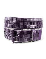 NYfashion101 Snap On Very Rare 80's Punk Style Micro Mini Stud Belt (Medium, Purple)
