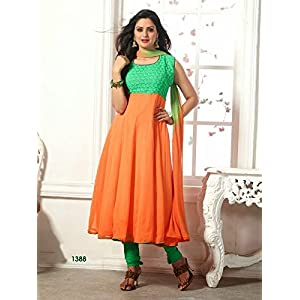 High5Store.Com Ornage Anarkali Suit Free Size