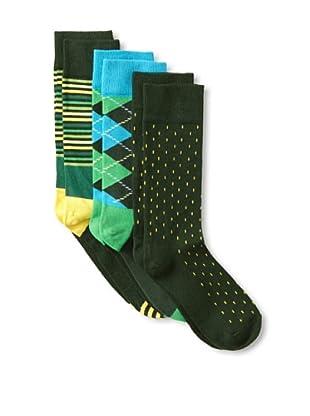 Happy Socks Women's Multi Socks (3 Pairs) (Green Multi)