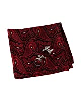EEF1B08D Red Polyster Pocket Square For Boss Woven Microfiber Black Patterned Handkerchief Cufflinks Set Gift for Husband By Epoint
