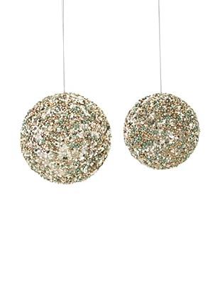 Melrose International Set of 2 Beaded Shatterproof Ornaments, Aqua/Gold
