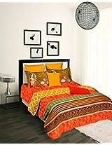 Tangerine Desi Beats 2 Cotton Double Comforter - King Size, Multicolour