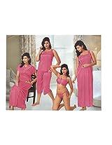 Indiatrendzs Women's Sexy Hot Nighty pink 6pc Set Silk Satin Nightywear Dress Freesize