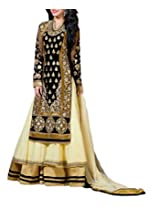 Admyrin Women Georgette Salwar Suit Set (Ah-Sk-Wn-1124 _Black/Cream _X-Large)