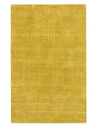Handmade Zig Wool/Silk Rug, Dark Hard Yellow, 5' x 8'