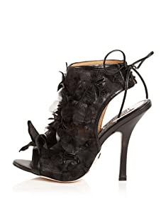 Badgley Mischka Women's Desire Open-Toe Bootie (Black Leather)