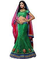 Melluha Women's Net Lehenga Choli (ml-0047_Green_Free Size)