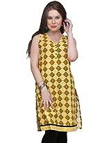 Syda Women Cotton Straight Kurta (Swkr0313-L _Yellow _Large)