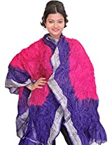 Exotic India Tie-Dye Bandhani Dupatta From Gujarat - Color Pink And PurpleColor Free Size