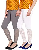 Softwear Womens Lace Leggings Pack of 2 ( Grey & White )