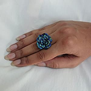 No Strings Attached Peacock Color Rhinestone Studded Rose Ring