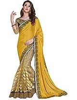 Sapphire Fashions Women's Yellow Jacquard Saree