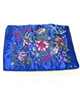Wrapables Silk Embroidered Jewelry Rolls, Large, Royal Blue