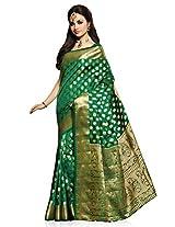 Meghdoot Artificial Silk Saree (VIVAAH_MT1284_BOTTLEGREEN Woven Green Colour Sari)