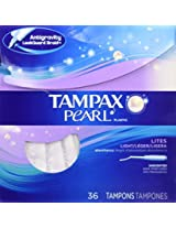 Tampax Pearl Unscented Light Tampons with Plastic Applicator-36 ct