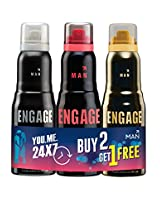 Engage Combo Pack Deo Sprays, Frost and Rush with Free Fuzz Deo Spray