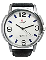 Evelyn Analogue Black Leather Strap Wrist Watch for Men