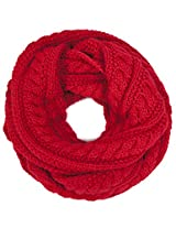 Dahlia Women's Thick Winter Cable Knit Infinity Scarf - Red
