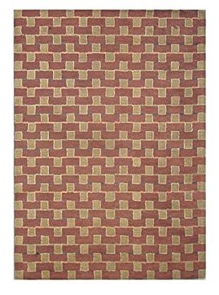 Square Rug, Terra Cotta/Multi, 5' x 8'