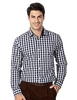 Peter England Navy Cotton Slim Fit Shirt