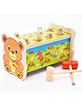 Zebratown Deluxe Pounding Bench Activity Center Wooden Pounding Bench With Hammer Kids Baby Preschool Toys