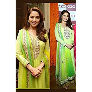 Madhuri Dixit Light Green Bollywood Replica Anarkali Suit