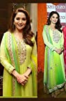 Madhuri Dixit Light Green Bollywood Replica Anarkali Suit