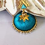 Turquoise blue and gold plated triangle stud silk jhumkas