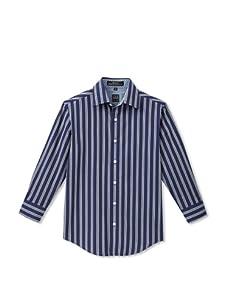 Ike Behar Boy's 8-20 Long Sleeve Striped Shirt (Navy)