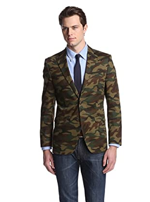 Simon Spurr Men's Camouflage 2-Button Sportcoat (Dark Camo)