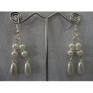 Mona Jewels Pearl Drops Earrings in Cream and Silver