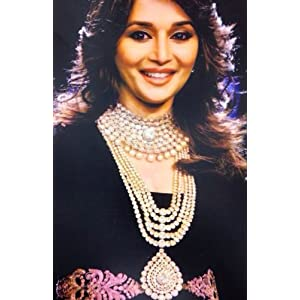 Madhuri Dixit Bridal Jewelry Set in White with Pearls