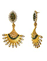 Traditional Ethnic Green Sunrise Gold Plated Dangler Earrings with Crystals for Women by Donna ER30106G