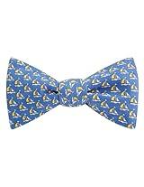 Men's 100% Silk Nautical Sailboat Sailing Freestyle Self Tie Bow Tie Bowtie Neckwear