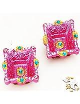 Ghasitaram Gifts Set of Two Square Diyas with 400 gms kaju Katli