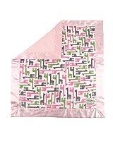 "My Blankee Giraffe Zoo Minky Fuchsia w/ Minky Dot Pink Baby Blanket, 30"" x 35"""