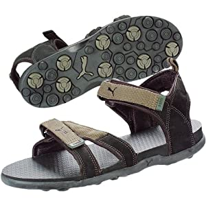 Puma Men's Sandals and Floaters - Olive Night & Black