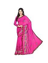 Chandra Silk Mills Pink Moti Work Saree