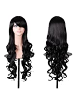 "Tengs Exclusive 32"" 80cm Spiral Curly Cosplay Costume Wig Black AD"