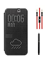 DMG Smart Dot View With Auto Sleep Wake Flip Cover Case For HTC One M9 (Black) + AUX Cable + Stylus