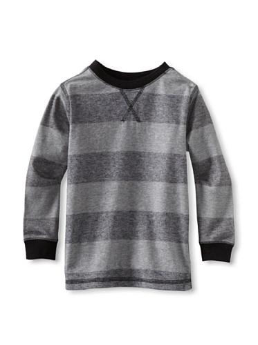 Colorfast Apparel Boy's Stripe Thermal (Black/Dark Smoke)