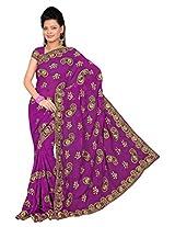 A.V.Fashion Embroidered Saree (1105_Purple)