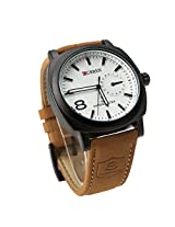 White Dial Fashion Curren Chronoghraph Styled Leather Strap Military Wrist Watch