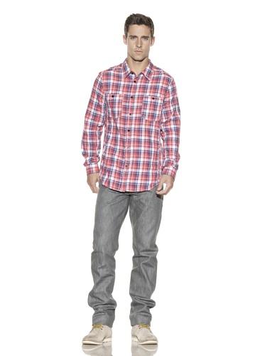 J.C. Rags Men's Plaid Button-Front Shirt (Red)