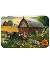 Caroline's Treasures PTW2003CMT Sunflower Country Paradise Barn Kitchen or Bath Mat, 20 by 30 , Multicolor