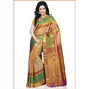 Dark Cream and Green Pure Kanchipuram Silk Handloom Saree with Blouse