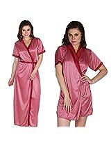Secret Wish Silky Satin Kimono Wrap/ Gown Set of 2 (Multi, Free Size)