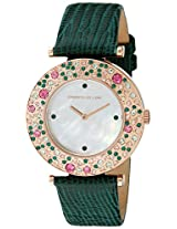 Kenneth Jay Lane Womens KJLANE-6403 Aurora Rose Gold-Tone Stainless Steel Watch With Green Leather Band