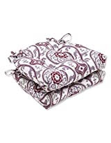 Pillow Perfect Suzanni Damask Plum Reversible Chair Pad, Set of 2
